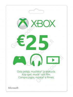 Xbox Live 25 Euron lahjakortti (digitaalinen toimitus)